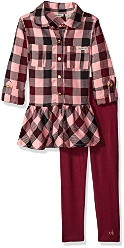 Calvin Klein Little Girls' Toddler Yarn Dyed Tunic with Leggings Set, Wine, 3T