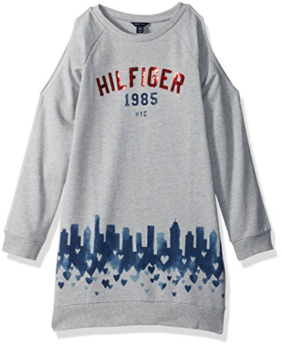 Tommy Hilfiger Big Girls' Open Shoulder Sweatshirt Dress, Pearlheather, Medium
