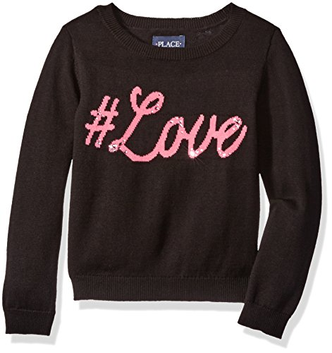 The Children's Place Little Girls' Graphic Knit Sweater, Black 69349, X-Small/4