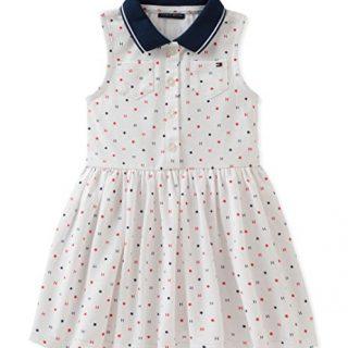 Tommy Hilfiger Little Girls' Dress, White/Print, 5