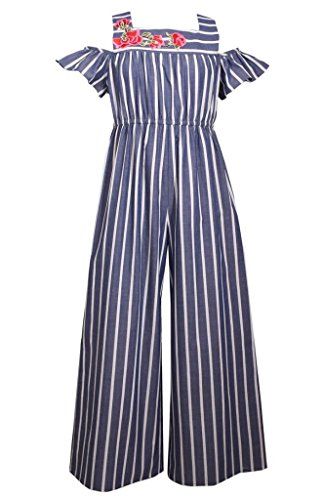 Bonnie Jean Navy & White Striped Chambray Jumpsuit, Size 20.5