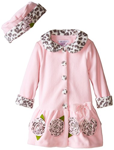 Bonnie Jean Little Girls' Fleece Coat with Leopard Trim, Pink, 3T