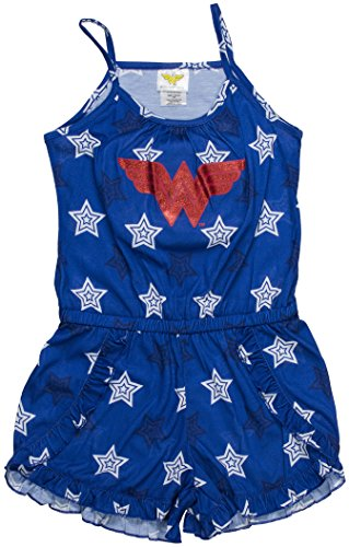 DC Comics Big Girls' Wonder Woman Logo Romper Pajama, Navy, 4/5