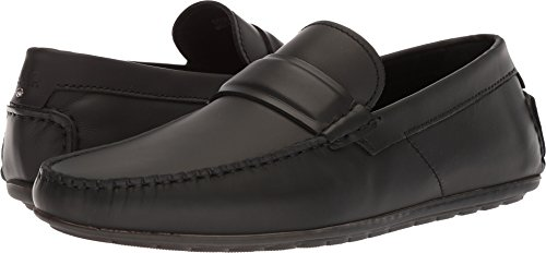 HUGO by Hugo Boss Men's Dandy Leather Moccasin Shoe Penny Loafer, Black, 13 N US