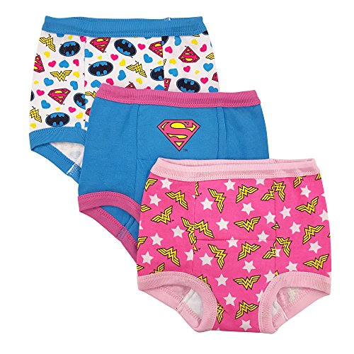 DC Comics Toddler Girls' Justice League 3 Pack Training Pant, Assorted Justice League, 2T