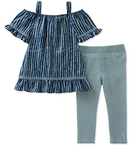Calvin Klein Big Girl's Tunic Set Pants, Print/Wash Blue, 8/10