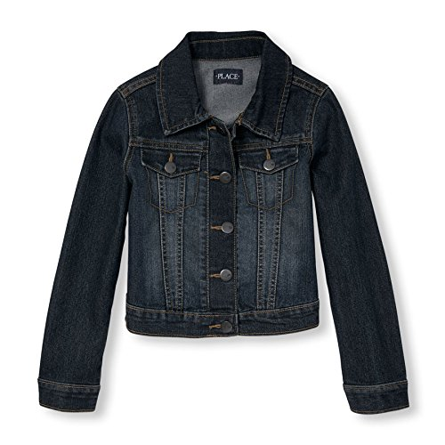 The Children's Place Big Girls' Denim Jacket, Dark Stone, Large/10-12