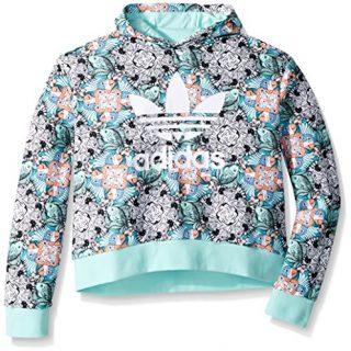 adidas Originals Big Girls' Zooanimal Print Hoodie, Multi/Clear Mint/White, M