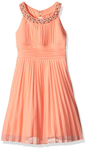 Speechless Big Girls' Jeweled Highneck Shrred Bodice Pleated Dress, Coral, 7