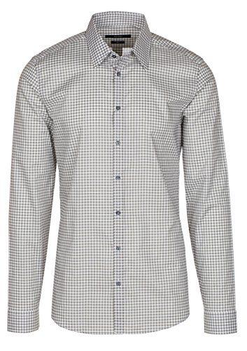 Gucci Men's Gray Vichy Check Print Slim Fit Button Down Dress Shirt, Gray, 16