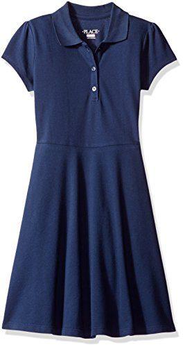 The Children's Place Big Girls' Uniform Short Sleeve Polo Dress, Tidal, Medium/7/8