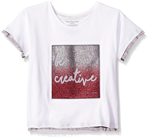 Calvin Klein Big Girls' Be Creative Tee, White, Medium (8/10)