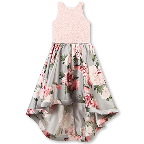 Speechless Big Girls' Party Dress with Lace Bodice and Printed High-Low Skirt, Blush/Gray, 12