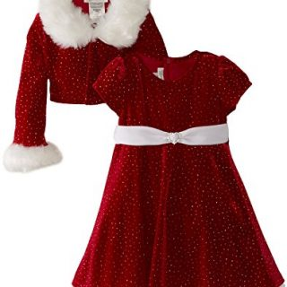Bonnie Jean - Girls Christmas Dress Velvet Sparkle Dress with Jacket (size-8)