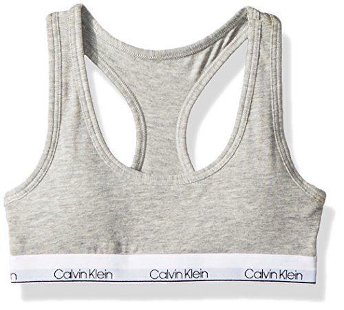 Calvin Klein Big Girls' Modern Cotton Molded Logo Bra, Heather Gray, XL (14/16)