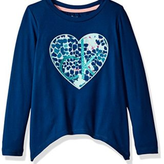Calvin Klein Big Girls' Heart Logo Sharkbite Tee, Poseidon, X-Large (16)