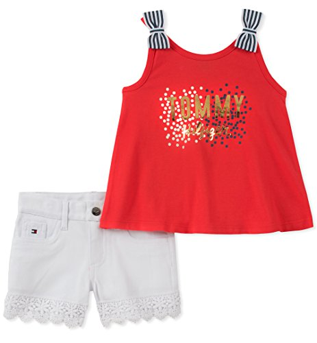 Tommy Hilfiger Little Girls' Shorts Set, Red/White, 6