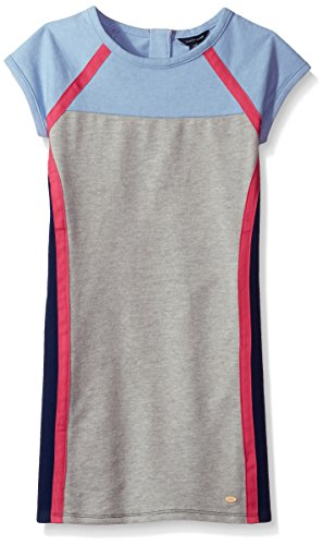 Tommy Hilfiger Big Girls' Colorblocked Dress, Heathered Rain, X-Large
