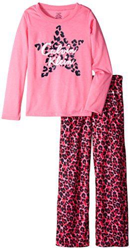Calvin Klein Little Girls' Cheetah Star Crew Neck Sleep Set, Pink, 5/6