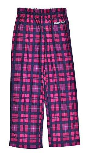 Calvin Klein Big Girls Plaid Navy Blue & Berry Pajama Pant (14/16)