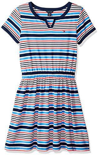 Tommy Hilfiger Big Girls Stripe Dress, Flag Blue, Large (12/14)