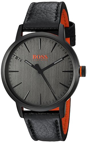 Hugo BOSS Men's 'Copenhagen' Quartz Stainless Steel and Leather Casual Watch, Color Black