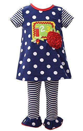 Bonnie Jean Little Girl's Navy 123 Chalkboard Knit Legging Set (2T)
