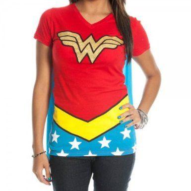 DC Comics Wonder Woman Glitter Juniors Red V-neck Tee (XX-Large)