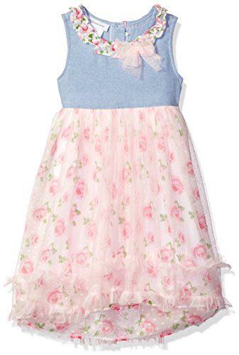 Bonnie Jean Little Girls' Sleeveless Printed Chiffon Hi Low Dress, Pink, 5