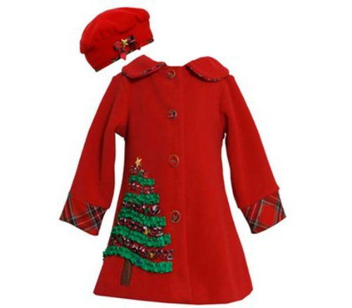 Christmas Tree and Matching Hat Fleece Coat with Bracelet 3-6 months