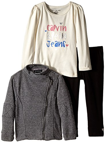 Calvin Klein Little Girls' Jacket with Tee and Pants, Gray, 5