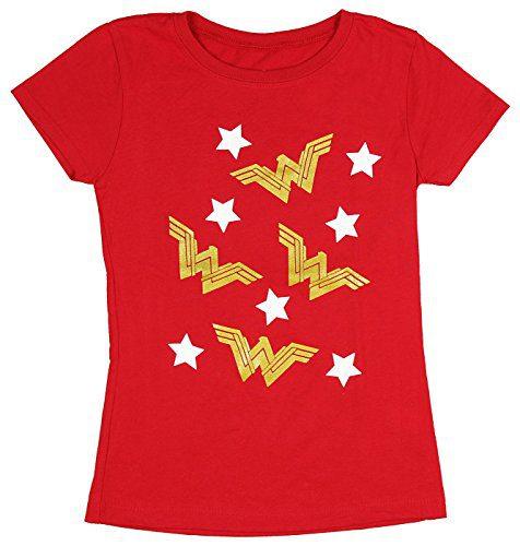 DC Comics Girls' Wonder Woman Gold WW Logo Stars T-Shirt (X-Large, 14/16)