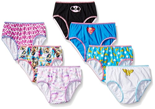 DC Comics Big Girls Justice League Logo 7 Pack Panty, Assorted, 6