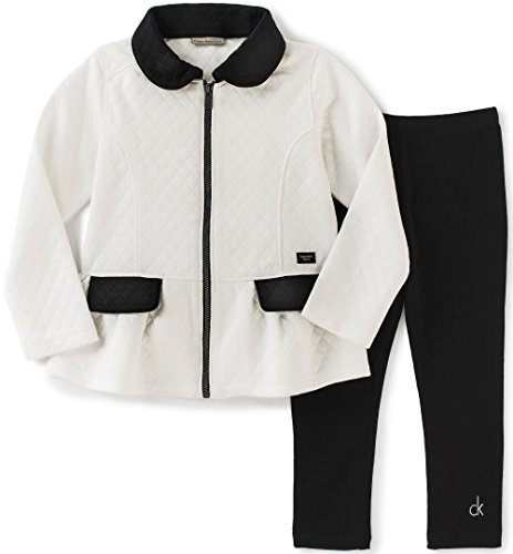 Calvin Klein Little Girls' Double Knit Jacket with Leggings Set, Black, 6
