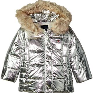 Tommy Hilfiger Toddler Girls' Peacoat Puffer Jacket, Metallic/Silver, 3T