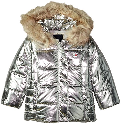 Tommy Hilfiger Toddler Girls' Peacoat Puffer Jacket, Metallic/Silver, 3T