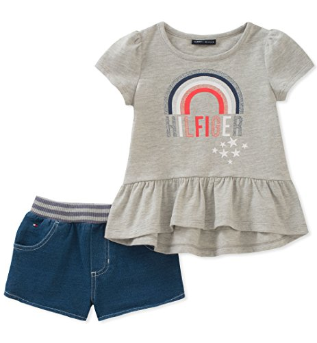 Tommy Hilfiger Toddler Girls' Denim Shorts Set, Gray/Blue, 4T