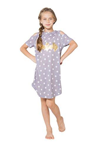 DC Comics Little Girls' Batgirl Cold Shoulder Star Nightgown, Gray, 6/6X