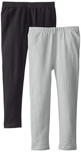 The Children's Place Big Girls' Solid Legging (Pack of 2), Black/Heather Grey, Large (10/12)