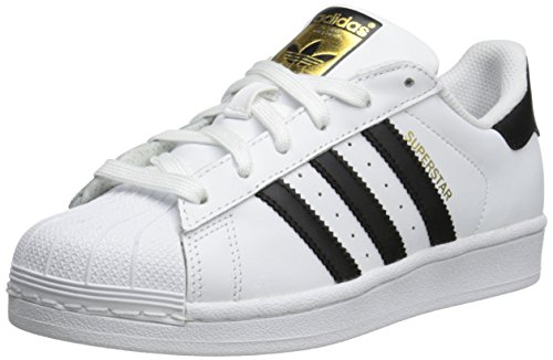 adidas Originals Superstar J Casual Low-Cut Basketball Sneaker (Big Kid),White/Black/White,5 M US Big Kid