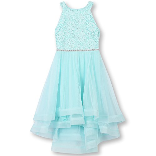 Speechless Girls' 7-16 Tween Sparkle Waist Party Dress with Wide Ribbon Hem, Mint, 12