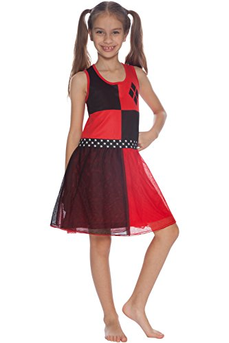 DC Comics Big Girls' Harley Quinn 'Costume' Pajama Nightgown, Red, 6/6X