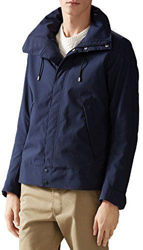 Gucci Men's Navy Blue Poly Poplin Techno Short Padded Raincoat Jacket, L, Blue