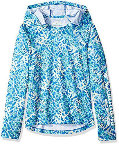 Columbia Girls Super Tidal Hoodie, Blue Macaw Print, Small