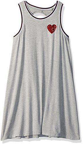 Calvin Klein Big Girls' Athleisure Dress, Light Grey Heather, X-Large (16)