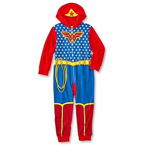 GBG USA Inc. DC Comics Wonder Woman Girls Pajamas Union Suit Blanket Sleeper w/Hood (Girls 8)