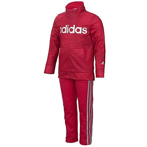 Adidas Girls' Tricot Jacket and Pant Set (Dark Pink, 3T)