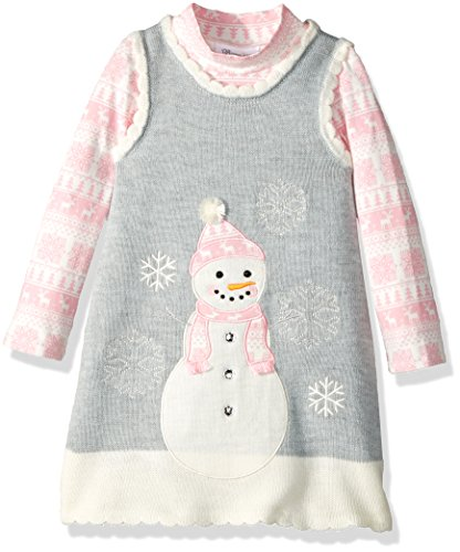 Bonnie Jean Little Girls' Intarsia Sweater Jumper Set with Applique, Snowman Fair Isle, 5