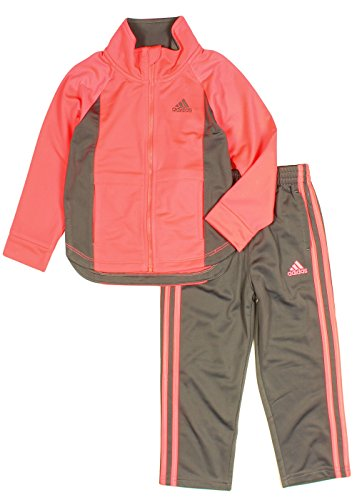 adidas Girls Tricot Zip Jacket and Pant Set, Coral Pink (4T)