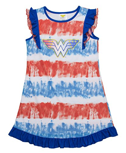 DC Comics Big Girls' Wonder Woman Logo Short Sleeve Pajama Dress, Blured, 7/8